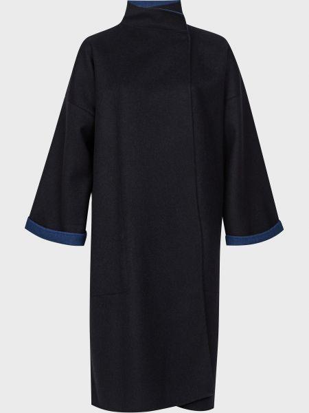 Синее кашемировое пальто на кнопках Agnona