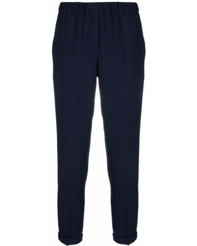 Синие укороченные брюки эластичные узкого кроя Antonelli
