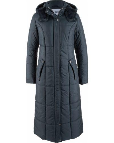 Облегченное синее стеганое пальто на кнопках Bonprix