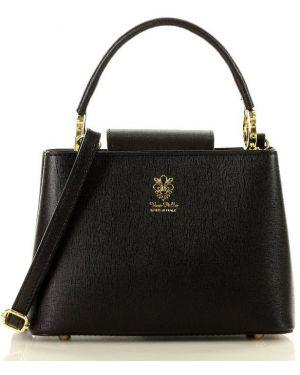 Czarna torebka crossbody skórzana elegancka Mazzini