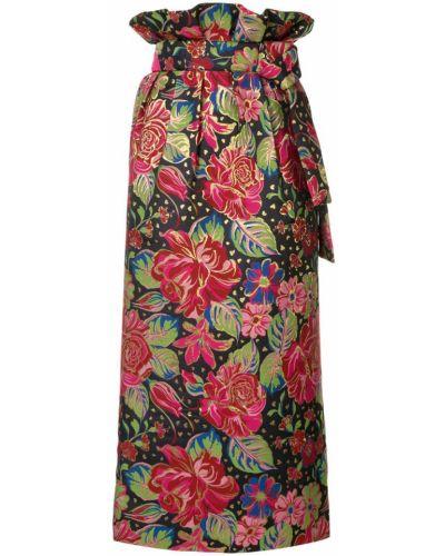 Юбка миди с цветочным принтом с завышенной талией Manish Arora