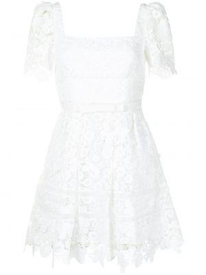 Белое платье мини с вышивкой квадратное Self-portrait