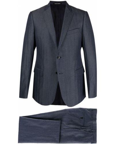 Синий шерстяной костюм на пуговицах Emporio Armani