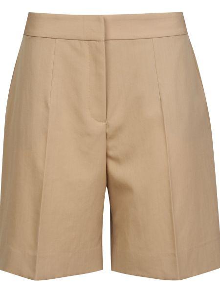 Шерстяные бежевые шорты на молнии Victoria Beckham