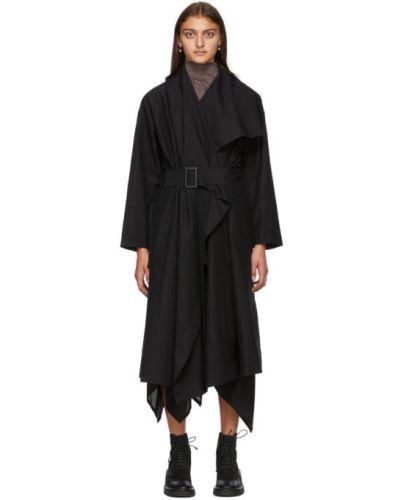 Льняное черное длинное пальто с воротником с поясом Issey Miyake
