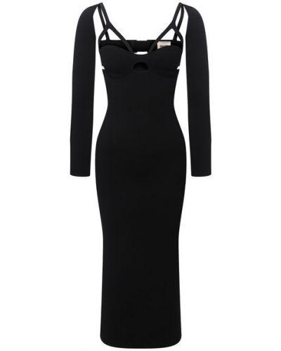 Черное платье из полиэстера Khaite