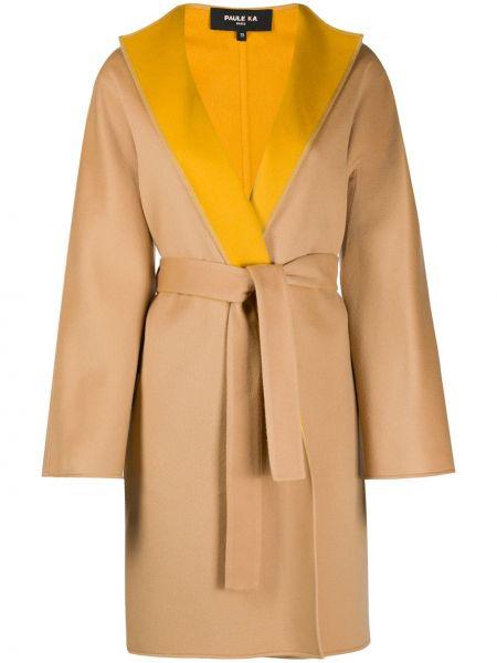 Шерстяное бежевое пальто с карманами Paule Ka