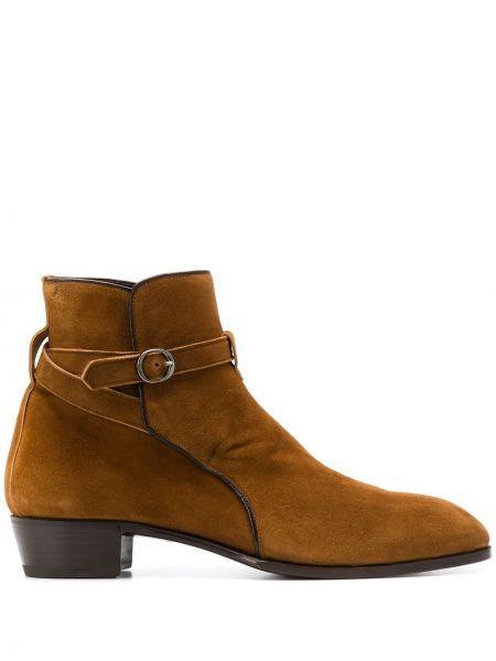 Коричневые кожаные ботинки с пряжкой Lidfort