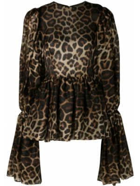 Шелковая блузка - коричневая Christian Siriano