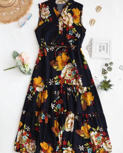 Платье с поясом с цветочным принтом горчичный Zaful