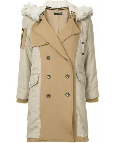 Желтое длинное пальто с капюшоном Frei Ea