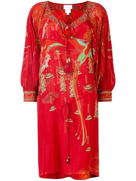 Платье миди с кисточками красный Camilla