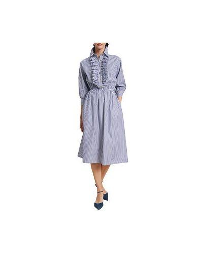 Хлопковое повседневное синее платье Luisa Spagnoli
