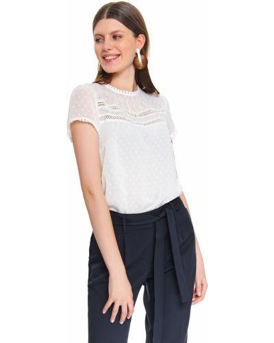 Biała bluzka krótki rękaw z haftem Top Secret
