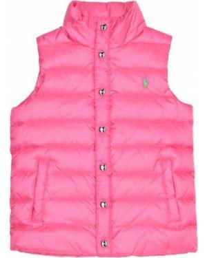 Różowa kamizelka pikowana z nylonu Polo Ralph Lauren Kids