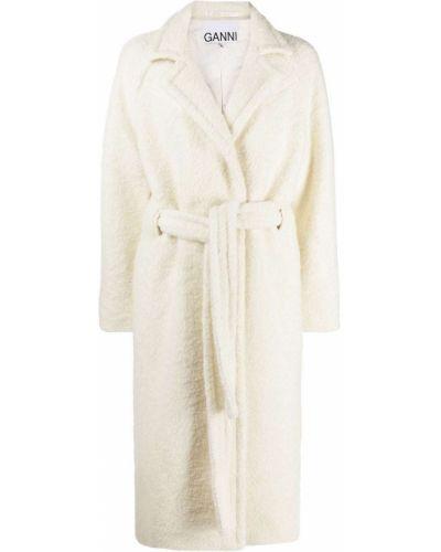 Шерстяное белое длинное пальто с поясом Ganni