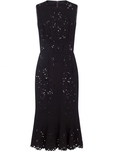 Ажурное шелковое черное платье Dolce & Gabbana
