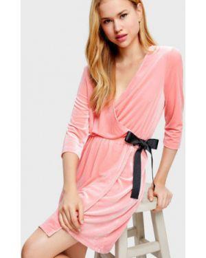 Платье с поясом с V-образным вырезом велюровое Ostin