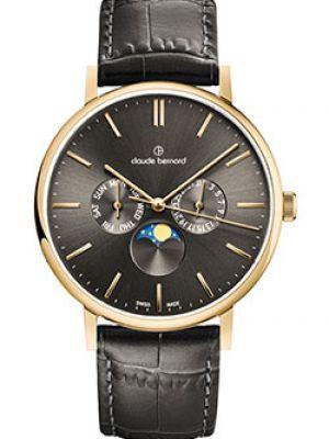 Часы водонепроницаемые с кожаным ремешком кварцевые Claude Bernard