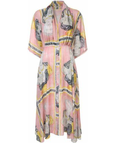 Платье миди на пуговицах с V-образным вырезом Tata Naka