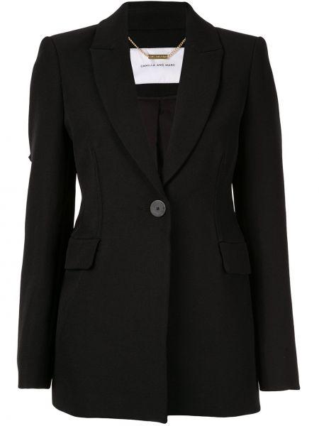 Черный приталенный удлиненный пиджак на пуговицах Camilla And Marc