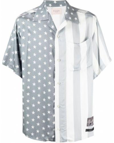 Biała koszula krótki rękaw z wiskozy Buscemi