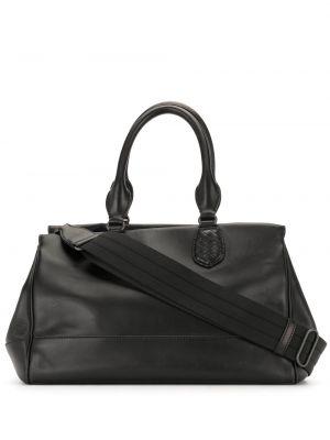 Кожаная черная сумка с ручками на молнии с карманами Bottega Veneta Pre-owned