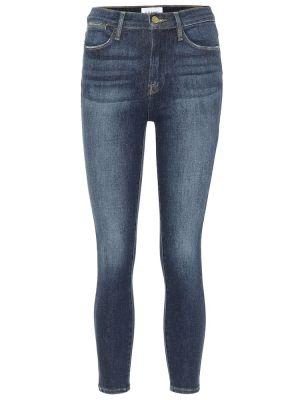 Ватные хлопковые синие зауженные укороченные джинсы Frame