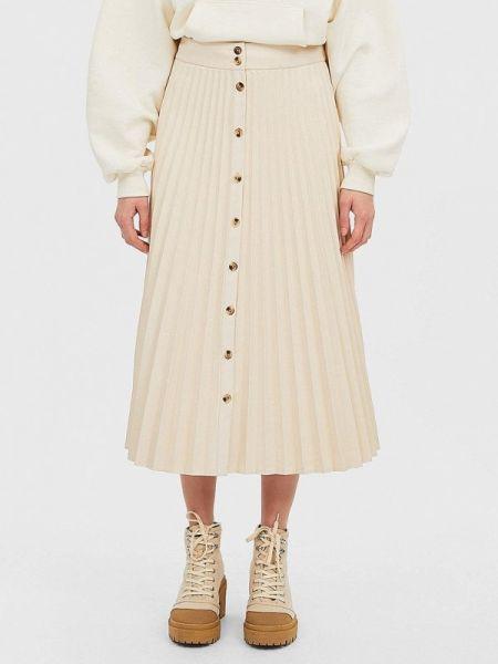 Плиссированная юбка белая весенняя Stradivarius