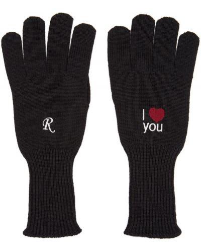 Wełniany biały rękawiczki z mankietami z haftem Raf Simons