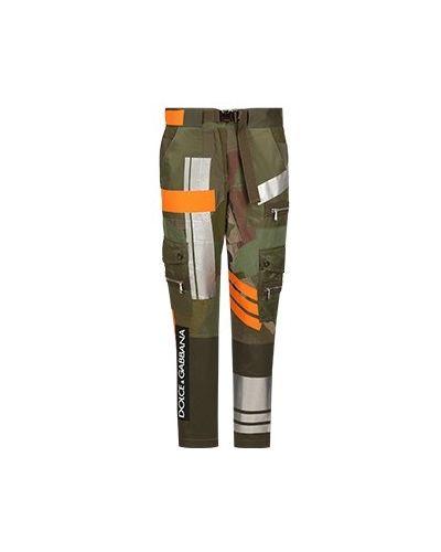 Хлопковые брюки - зеленые Dolce&gabbana