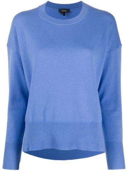 С рукавами кашемировый синий свитер Theory