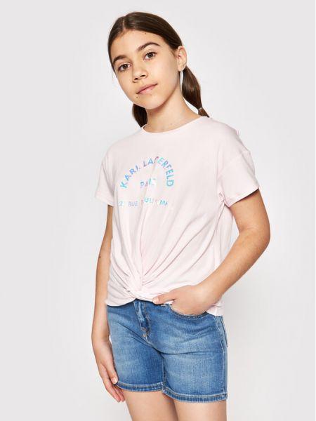 Bluzka - różowa Karl Lagerfeld