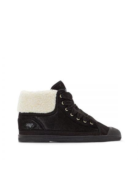 Спортивные текстильные черные высокие кроссовки на каблуке Le Temps Des Cerises