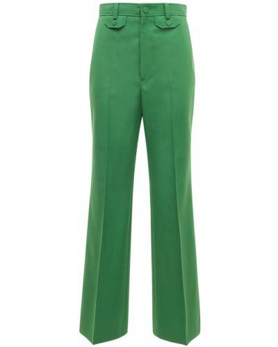 Wełniany zielony spodnie z kieszeniami bezpłatne cięcie Gucci