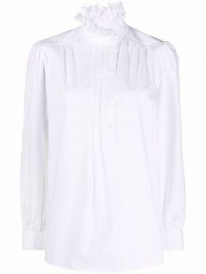 Белая рубашка с высоким воротником Alberta Ferretti