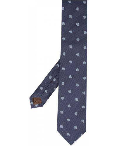 Синяя шелковая резинка для волос с подкладкой Church's