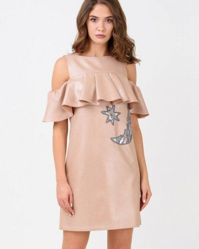 Вечернее платье осеннее бежевое Ricamare