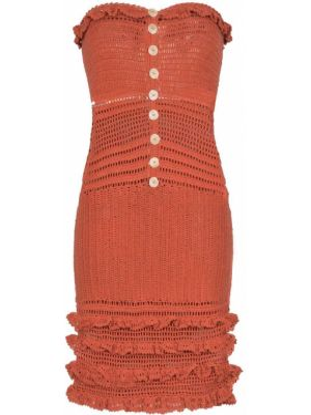 Оранжевое нейлоновое платье на пуговицах узкого кроя She Made Me