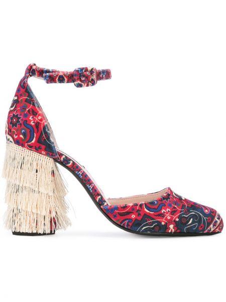 Красные кожаные туфли с пряжкой на каблуке Leandra Medine