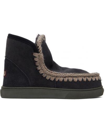Замшевые черные ботинки на каблуке Mou