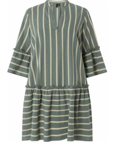 Zielona sukienka rozkloszowana z falbanami Vero Moda Curve