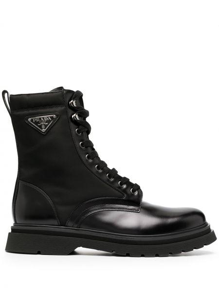 Нейлоновые черные ботинки матовые на шнуровке Prada