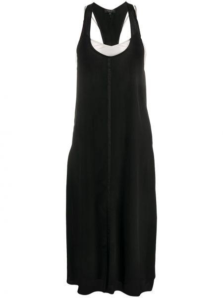 Шелковое платье миди - черное Rag & Bone