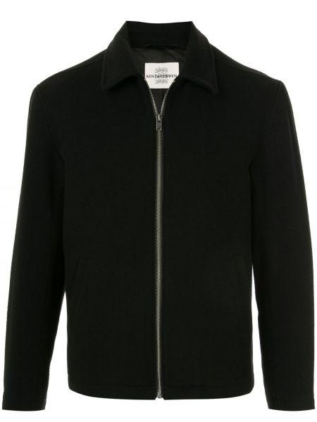 Czarna kurtka pikowana wełniana Kent & Curwen
