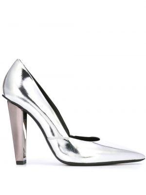 Кожаные серебряные туфли-лодочки без застежки на каблуке Poiret