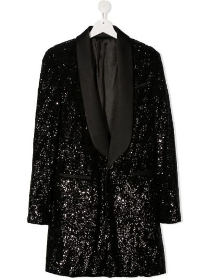 Черный классический пиджак с карманами с лацканами Balmain Kids