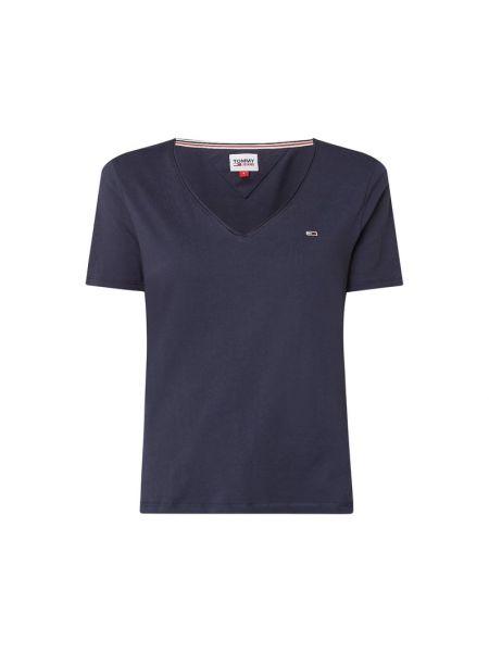 Niebieski bawełna bawełna koszula jeansowa z dekoltem Tommy Jeans