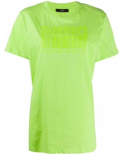Хлопковая зеленая футболка с вырезом Diesel