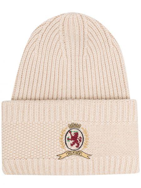 Кашемировая шапка бини в рубчик с вышивкой с отворотом Hilfiger Collection